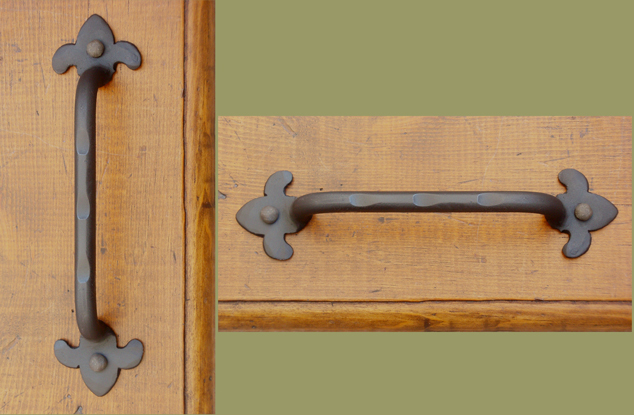 Wrought iron drawer pulls and knobs paso robles ironworks for Wrought iron cabinet pulls