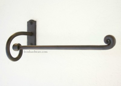 Hand Forged Wrought Iron Hand Towel Bar right hand facing in Iron Oxide Finish available only at Paso Robles Ironworks