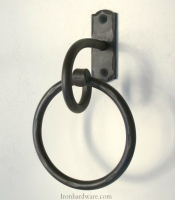 Hand Forged Wrought Iron Towel ring in Iron Oxide Finish available only at Paso Robles Ironworks