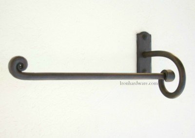 Hand Forged Wrought Iron Hand Towel Bar Left hand facing in Iron Oxide Finish available only at Paso Robles Ironworks